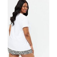 Curves White Amour Lips Logo T-Shirt New Look
