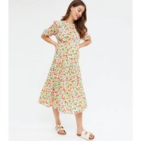 Maternity Off White Floral Tiered Midi Dress New Look