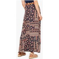 Apricot Navy Paisley Floral Belted Maxi Skirt New Look
