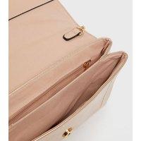 Pink Metallic Chain Strap Clutch Bag New Look
