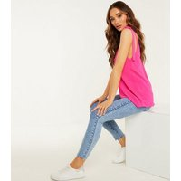QUIZ Bright Pink Eyelet Tie Strap Cami New Look