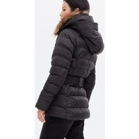 Blue Vanilla Black Faux Fur Hooded Puffer Jacket New Look