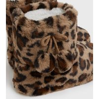 Brown Leopard Print Fluffy Pom Pom Boot Slippers New Look Vegan