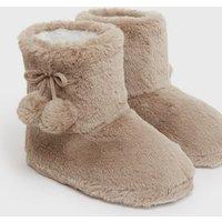 Camel Fluffy Pom Pom Boot Slippers New Look Vegan