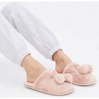 Pink Faux Fur Pom Pom Mule Slippers New Look Vegan