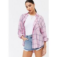 Pink Check Long Sleeve Oversized Shirt New Look