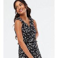Black Animal Print Chiffon Ruffle Maxi Dress New Look