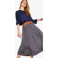 Apricot Navy Geometric Crinkle Belted Midi Skirt New Look