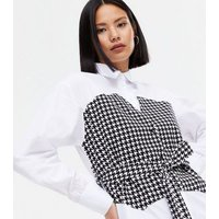 White Dogtooth 2 in 1 Corset Shirt New Look