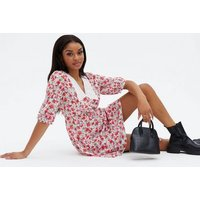 Petite White Floral Broderie Collar Mini Dress New Look
