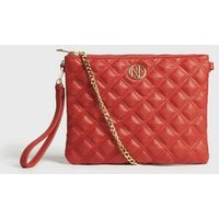 Red Quilted Logo Clutch Bag New Look Vegan