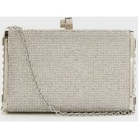 Silver Diamanté Box Clutch Bag New Look