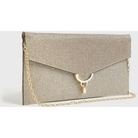 Gold Glitter Chain Strap Clutch Bag New Look