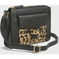 Brown Leopard Print Chain Cross Body Messenger Bag New Look