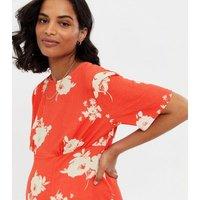 Maternity Orange Floral Split Hem Midi Dress New Look
