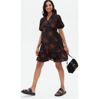 Maternity Black Heart Ruffle Mini Wrap Dress New Look