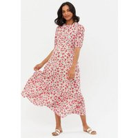 Maternity White Floral Ruched Puff Sleeve Midi Dress New Look