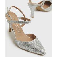 Wide Fit Silver Diamanté Pointed Court Shoes New Look Vegan