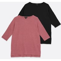 2-Pack-Pink-and-Black-Fine-Knit-34-Sleeve-Long-Tops-New-Look