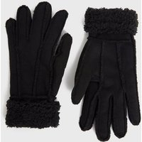 Black Faux Shearling Lined Gloves New Look