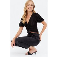 Black Broderie Ruched Crop T-Shirt New Look