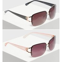 2 Pack Brown and Purple Diamanté Rimless Sunglasses New Look