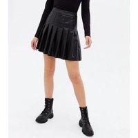 Black Leather-Look Mini Tennis Skirt New Look