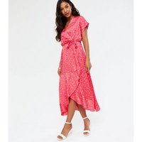 Red Ditsy Floral Satin Ruffle Wrap Midi Dress New Look