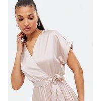 Pale Pink Satin Pleated Wrap Midi Dress New Look
