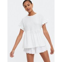 White Broderie Frill Sleeve Peplum Top New Look