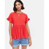 Red Broderie Frill Sleeve Peplum Top New Look