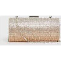 Rose Gold Ombré Diamanté Chain Clutch Bag New Look