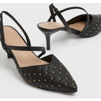 Black Quilted Strappy Stiletto Court Shoes New Look Vegan