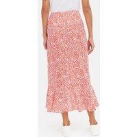 Red Animal Print Ruffle Midi Wrap Skirt New Look