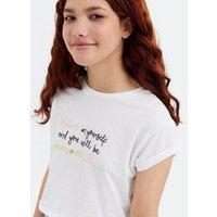 Girls White Believe Metallic Logo T-Shirt New Look