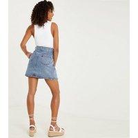 QUIZ Blue Denim Mini Wrap Skirt New Look