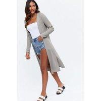 Pale Grey Ribbed Fine Knit Midi Cardigan New Look