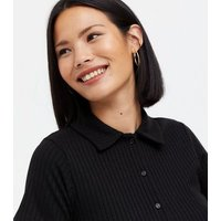 Black Fine Knit Button Collared Polo Top New Look