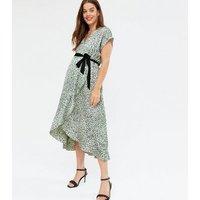 Maternity Light Green Animal Print Satin Midi Dress New Look