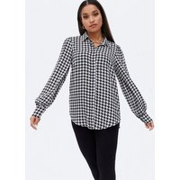 Petite White Dogtooth Puff Sleeve Long Shirt New Look