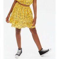 Girls Yellow Ditsy Floral Top and Skort Set New Look