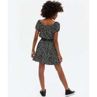 Girls Black Ditsy Floral Top and Skort Set New Look