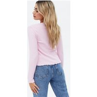 Petite Pale Pink Ribbed Knit Tie Front Cardigan New Look