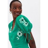 Tall Green Floral Puff Sleeve Sundress New Look