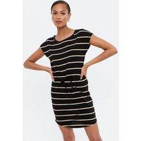 ONLY Black Stripe Jersey Drawstring Mini Dress New Look