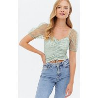 Light Green Flocked Spot Mesh Ruched Tie Front Top New Look