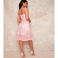 Chi Chi London Pale Pink Lace Corset Midi Dress New Look