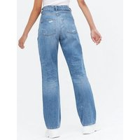 Blue Extreme Rip Full Length Anica Straight Leg Jeans New Look