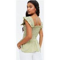 Cameo Rose Olive Gingham Shirred Peplum Top New Look