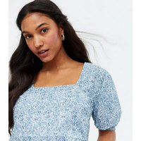 Influence Pale Blue Ditsy Floral Tiered Peplum Blouse New Look